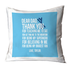Skiing Throw Pillow - Dear Dad