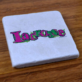 Lacrosse In Color Pink - Natural Stone Coaster