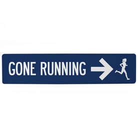"Running Aluminum Room Sign - Gone Running Girl (4""x18"")"
