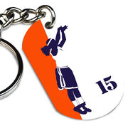 Basketball Printed Dog Tag Keychain Personalized Basketball Player Silhouette Girl