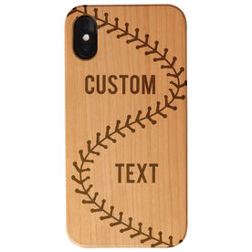 Baseball Engraved Wood IPhone® Case - Baseball Stitch Text