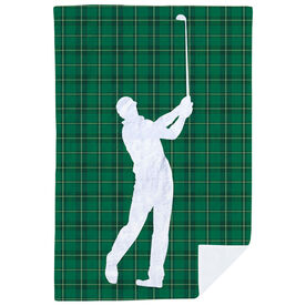 Golf Premium Blanket - Plaid Pattern Golfer