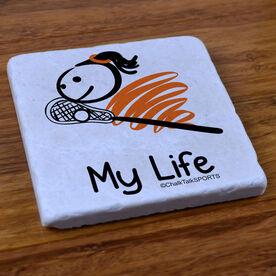 My Life Lacrosse (Female) - Natural Stone Coaster