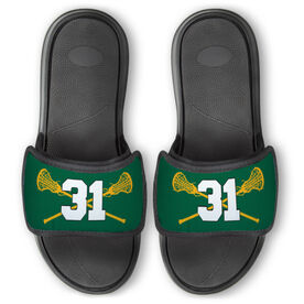Girls Lacrosse Repwell™ Slide Sandals - Crossed Sticks with Number