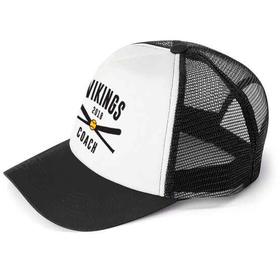 Softball Trucker Hat - Team Name Coach With Curved Text