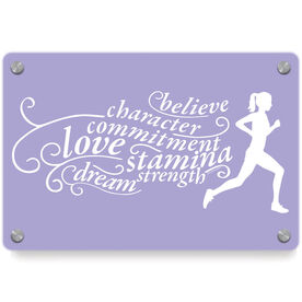 Running Metal Wall Art Panel - Words To Run By