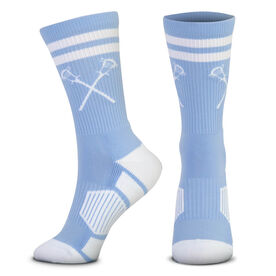 Guys Lacrosse Woven Mid-Calf Socks - Retro Crossed Sticks (Carolina/White)