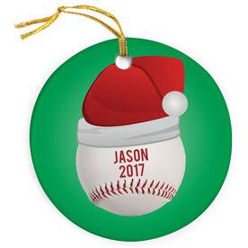 Baseball Porcelain Ornament Santa Hat