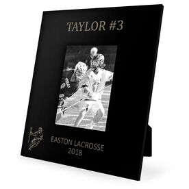 Guys Lacrosse Engraved Picture Frame - Name and Number (Guy Player Silhouette)