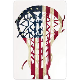 "Girls Lacrosse 18"" X 12"" Aluminum Room Sign American Flag Stick"