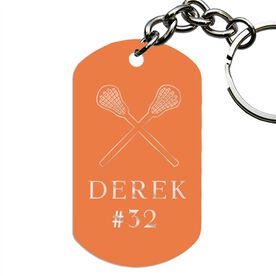 Engraved Personalized Lacrosse Dog Tag Keychains
