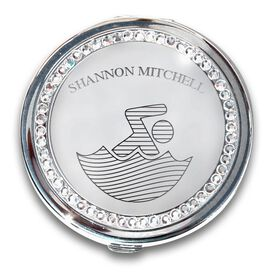 Silver Personalized Swimming Compact Mirror