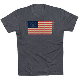 Hockey T-Shirt Short Sleeve Hockey Laces Flag