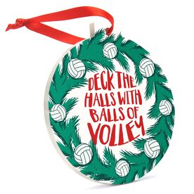 Volleyball Round Ceramic Ornament - Deck The Halls with Balls of Volley