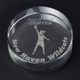 Basketball Personalized Engraved Crystal Gift - Player Silhouette with Custom Text (Female)
