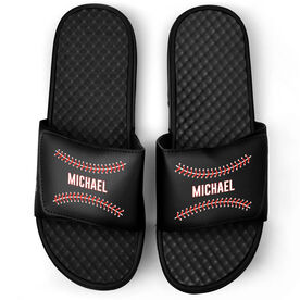 Baseball Black Slide Sandals - Personalized Stitches