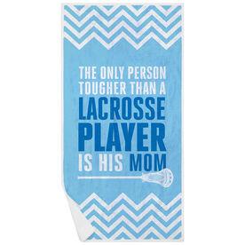 Guys Lacrosse Premium Beach Towel - Tougher Than A Lacrosse Player