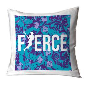 Girls Lacrosse Throw Pillow Fierce