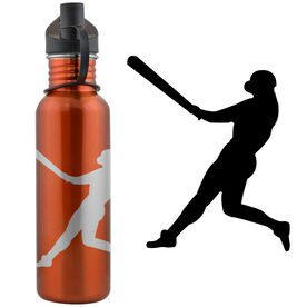 Baseball Player Silhouette 24 oz Stainless Steel Water Bottle