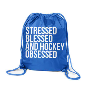 Hockey Sport Pack Cinch Sack - Stressed Blessed and Hockey Obsessed