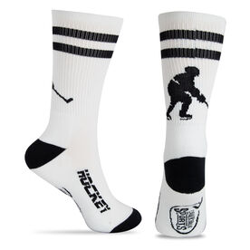 Hockey Woven Mid-Calf Socks - Player (White/Black)