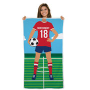 Soccer Premium Beach Towel - Female Player
