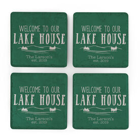 Personalized Stone Coasters Set of Four - Welcome To Our Lake House