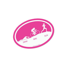 Swim Bike Run (Silhouettes) Mini Car Magnet - Fun Size