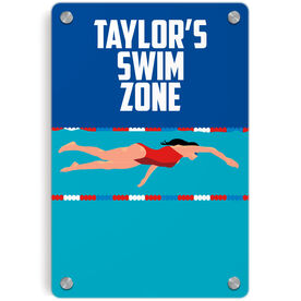 Swimming Metal Wall Art Panel - Personalized Swim Zone Girl