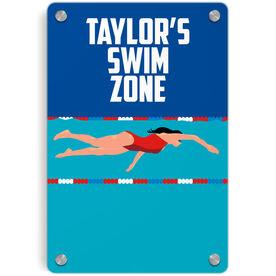 Swimming Metal Wall Art Panel - Personalized Swim Zone Girl