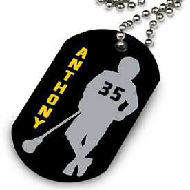 Lacrosse Printed Dog Tag Necklace Personalized Chillax'n Silhouette