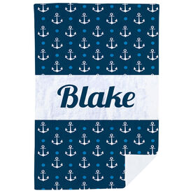 Personalized Premium Blanket - Anchors Ahoy
