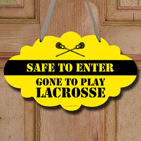 Lacrosse Cloud Room Sign Safe To Enter Lacrosse with Guy Sticks