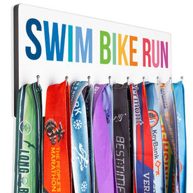 Triathlon Hooked on Medals Hanger - Swim Bike Run