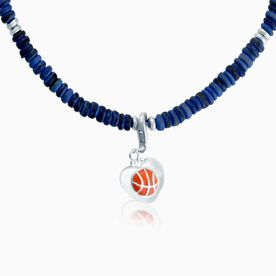 Natural SportBEAD Adjustable Necklace - Heart Basketball Charm