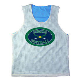 Girls Softball Racerback Pinnie Personalized Softball Team with Crossed Bats Green Blue