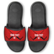 Hockey Repwell® Slide Sandals - Personalized Goalie Crossed Sticks