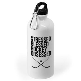Hockey 20 oz. Stainless Steel Water Bottle - Stressed Blessed and Hockey Obsessed