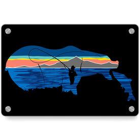 Fly Fishing Metal Wall Art Panel - Pond Fishing On Bear Lake