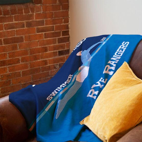 Swimming Premium Blanket - Personalized Swimming Guy Team