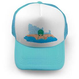 Swimming Trucker Hat Girl swimmer
