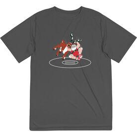 Wrestling Short Sleeve Performance Tee - Wrestling Reindeer