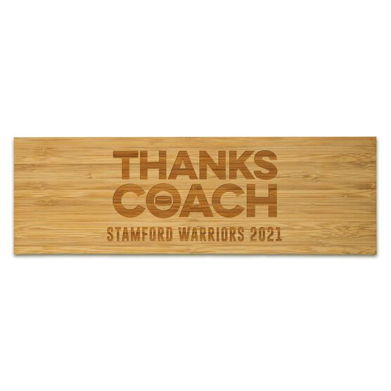 """Hockey 12.5"""" X 4"""" Engraved Bamboo Removable Wall Tile - Thanks Coach"""