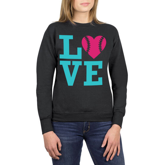 Softball Crew Neck Sweatshirt - Love Softball
