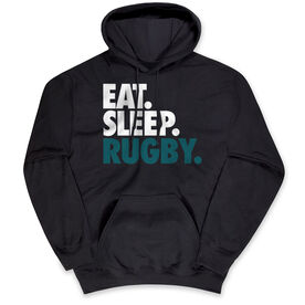 Rugby Hooded Sweatshirt - Eat. Sleep. Rugby.