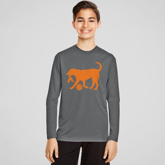 Basketball Long Sleeve Performance Tee - Baxter The Basketball Dog