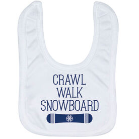 Snowboarding Baby Bib - Crawl Walk Snowboard