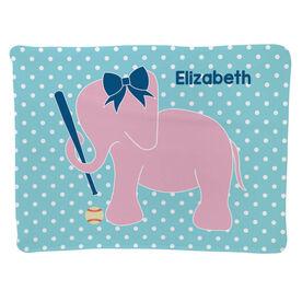 Baseball Baby Blanket - Baseball Elephant With Bow
