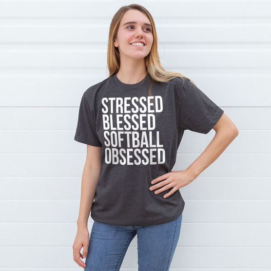 Softball Short Sleeve T-Shirt - Stressed Blessed Softball Obsessed