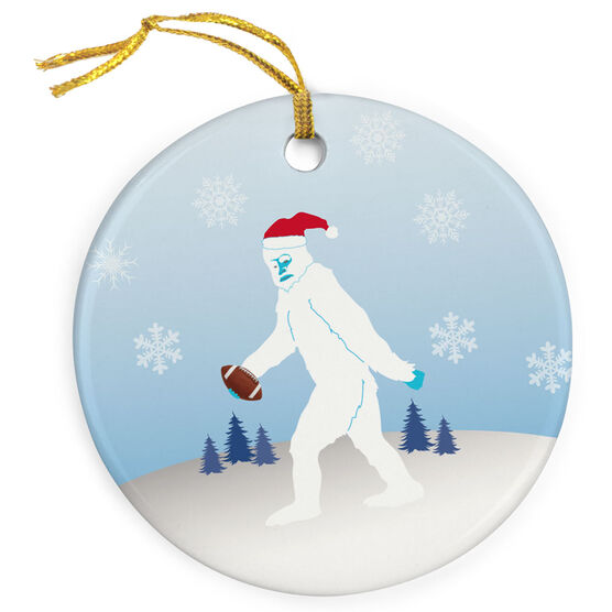 Football Porcelain Ornament Personalized Abominable Football Snowman